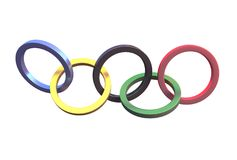 Metal olypmic rings Stock Photography