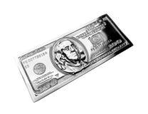 Metal one hundred dollars. Metal copy hundred dollar bill closeup. Benjamin Franklin on the metal banknote stock illustration