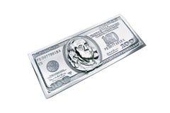 Metal one hundred dollars. Metal copy hundred dollar bill closeup. Benjamin Franklin on the metal banknote vector illustration