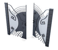 Metal open gate on white background. 3d render image.  Stock Photos