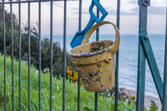 Metal ornament on a balustrade in a seaside village, a symbolic Royalty Free Stock Photography
