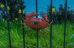 Metal ornament on a balustrade in a seaside village, symbolic in Stock Images