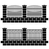 Metal ornate fence black icons Stock Photo