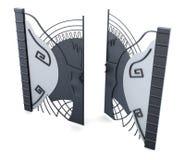 Metal otwarta brama na białym tle 3d odpłacają się image Zdjęcia Stock