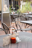 A metal outdoor restaurant table Royalty Free Stock Images
