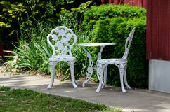 Metal outdoor table and chairs stock photo
