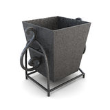 Metal outdoor trashcan  on a white background. 3d render Royalty Free Stock Images