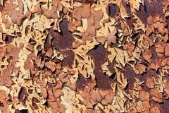 Metal oxidado com pintura da casca Corrosão severa do metal fotos de stock royalty free