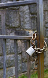 Metal padlock and chain Stock Photos