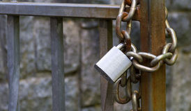 Metal padlock and chain Stock Image
