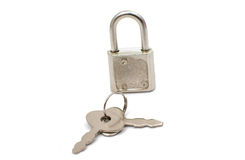 Metal padlock with keys on a ring Stock Image