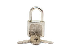 Metal padlock with keys on a ring Stock Photography