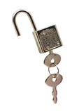 Metal padlock with keys on a ring Stock Photo