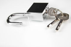 Metal padlock over white Royalty Free Stock Images