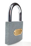 Metal padlock over white Stock Image