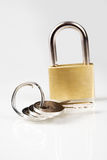Metal padlock over white Royalty Free Stock Photo