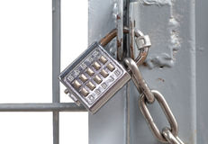 Metal padlock and pin keypad Stock Photos