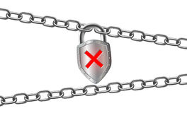 Metal padlock and steel chain. Isolated on white background. Sign of prohibition and censorship. Stock  Illustration template Stock Photography