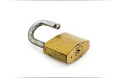 Metal padlock. On white background Royalty Free Stock Photo