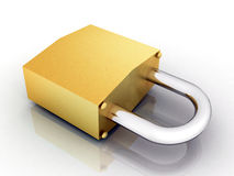 Metal padlock on white background Stock Photography