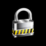 Metal padlock on white background Royalty Free Stock Photos
