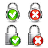 Metal Padlocks with Check Marks Royalty Free Stock Photography