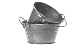 Metal Pails Isolated Royalty Free Stock Photography