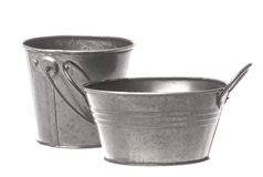 Metal Pails Isolated Stock Photography