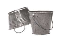 Metal Pails Isolated Stock Photos