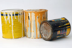 Metal paint cans. Group of three of paint cans stock images
