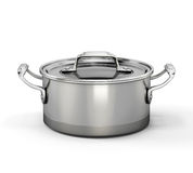 Metal pan for boiling  on white Stock Image