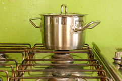 Metal pan in a kitchen. A metal pan in a kitchen for cooking Stock Photography