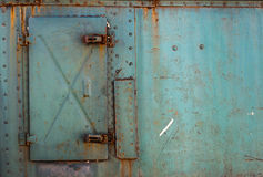 Metal panel door. With rusty Royalty Free Stock Photo