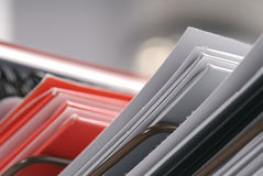 Metal paper organizer with plain folders Royalty Free Stock Photo