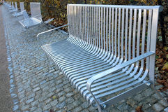 Metal park benches Royalty Free Stock Photo