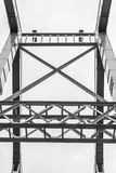 Metal parts of the bridge. Horizontal frame Stock Photos