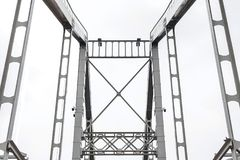 Metal parts of the bridge. Horizontal frame Stock Photo