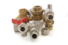 Metal parts for plumbing and sanitary equipment. Various metal parts for plumbing and sanitary ware Royalty Free Stock Photo