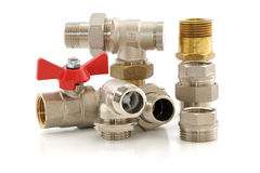 Metal parts for plumbing and sanitary equipment. Various metal parts for plumbing and sanitary ware Stock Photography