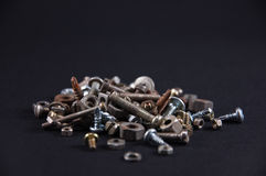 Metal parts and screws Royalty Free Stock Image
