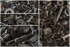 Metal parts and screws. Construction and repair Stock Photo