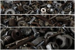 Metal parts and screws. Construction and repair Stock Images