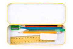Metal pencil case royalty free stock photo
