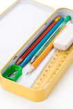 Metal pencil case Royalty Free Stock Photography