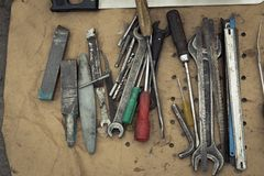 Metal people tools. Rustic iron crafts. Vintage stock photos