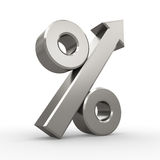 Metal percent symbol with arrow Stock Images