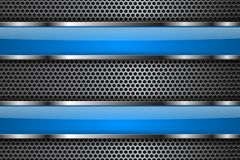 Metal perforated background with blue glass plates. Vector 3d illustration royalty free illustration