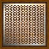 Metal perforated background wooden boards. Metal plates on wooden background. Vector illustration Stock Illustration
