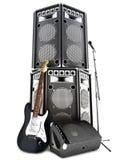 Metal pesado, fondo del rock-and-roll con los altavoces grandes de la torre Fotografía de archivo libre de regalías