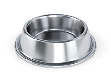 Metal pet bowl. For dogs or cats isolated on white background. 3D illustratin Stock Photography